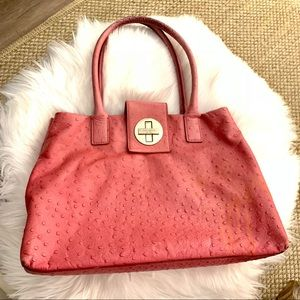 Pink Ostrich Leather Kate Spade Stevie bag ♠️